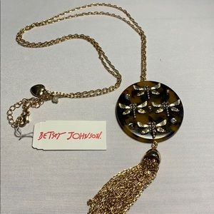 Betsy Johnson Fireflies Gold Jeweled Necklace